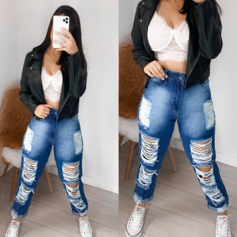 Calça Jeans Feminina Lavagem Escura