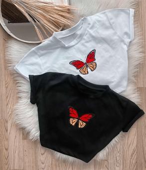 Cropped T-Shirt Camiseta Feminina Borboleta