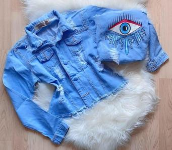 Jaqueta Jeans Feminina Estampa Olho Grego