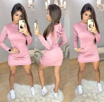 Mini Vest Vestido Feminino Manga Longa com Capuz