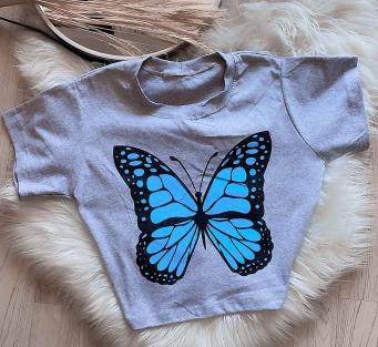T-Shirt Cropped Feminino Borboleta