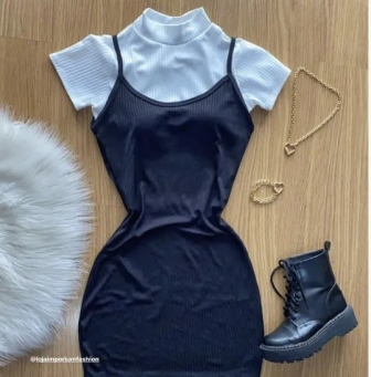 Vestido Curto de Alcinha  Canelado