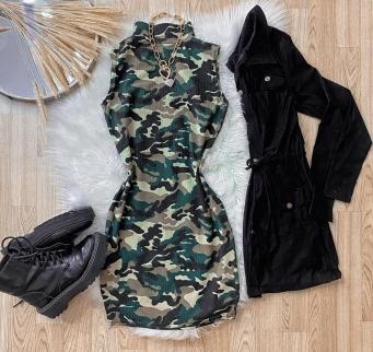 Vestido Feminino Canelado Gola Alta