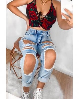 Calça Feminina Jeans Destroyed Mom Cintura Alta