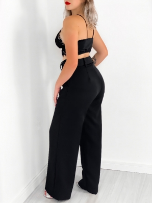 Calça Feminina Pantalona Alfaiataria com Cinto