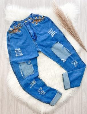 Calça Jeans Jogger Destróier com Correntes Gringa