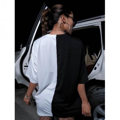 Camiseta Blusa Feminina Oversize Snake Cobra Bicolor