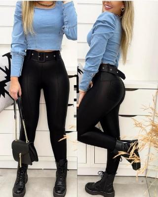 Top Cropped Jeans Feminino