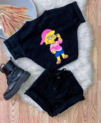 Blusa T-Shirt Cropped Feminino Simpson 2.0