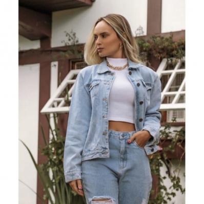 Jaqueta Jeans Oversized Feminina Vintage