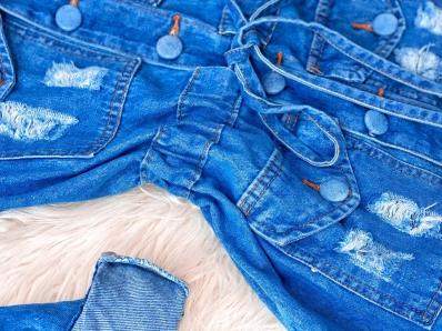 Parka Jeans Feminina Com Ajuste na Cintura