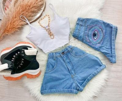 Shorts Jeans Feminino Olho Grego