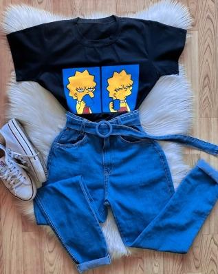 Blusa T-Shirt Cropped Feminino Lisa Simpson