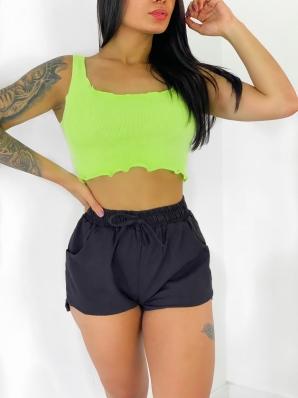 Top Cropped Feminino Verde Neon