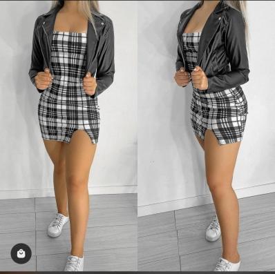 Vestido Feminino Alça Fina Xadrez