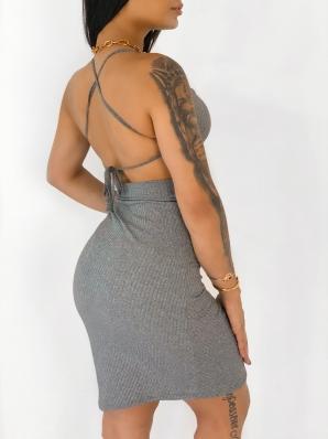 Vestido Feminino Canelado Curto com Detalhe Frontal