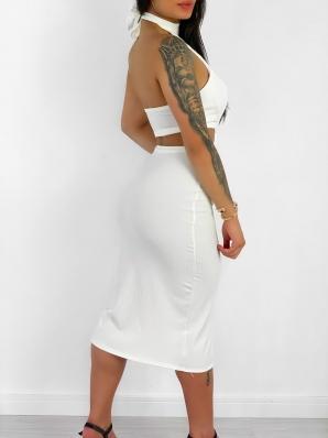 Vestido Feminino Canelado Midi com Detalhes Vazados