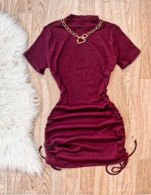 Vestido Feminino Curto Canelado Gola Alta
