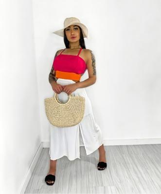 Vestido Feminino Longo Colorido com Detalhe Vazado
