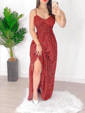 Vestido Feminino Longo Estampado Animal Print.