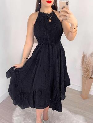 Vestido Feminino Poá com Lastex