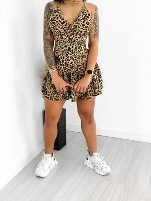 Vestido Macaquinho Feminino Animal Print com Abertura nas Laterais