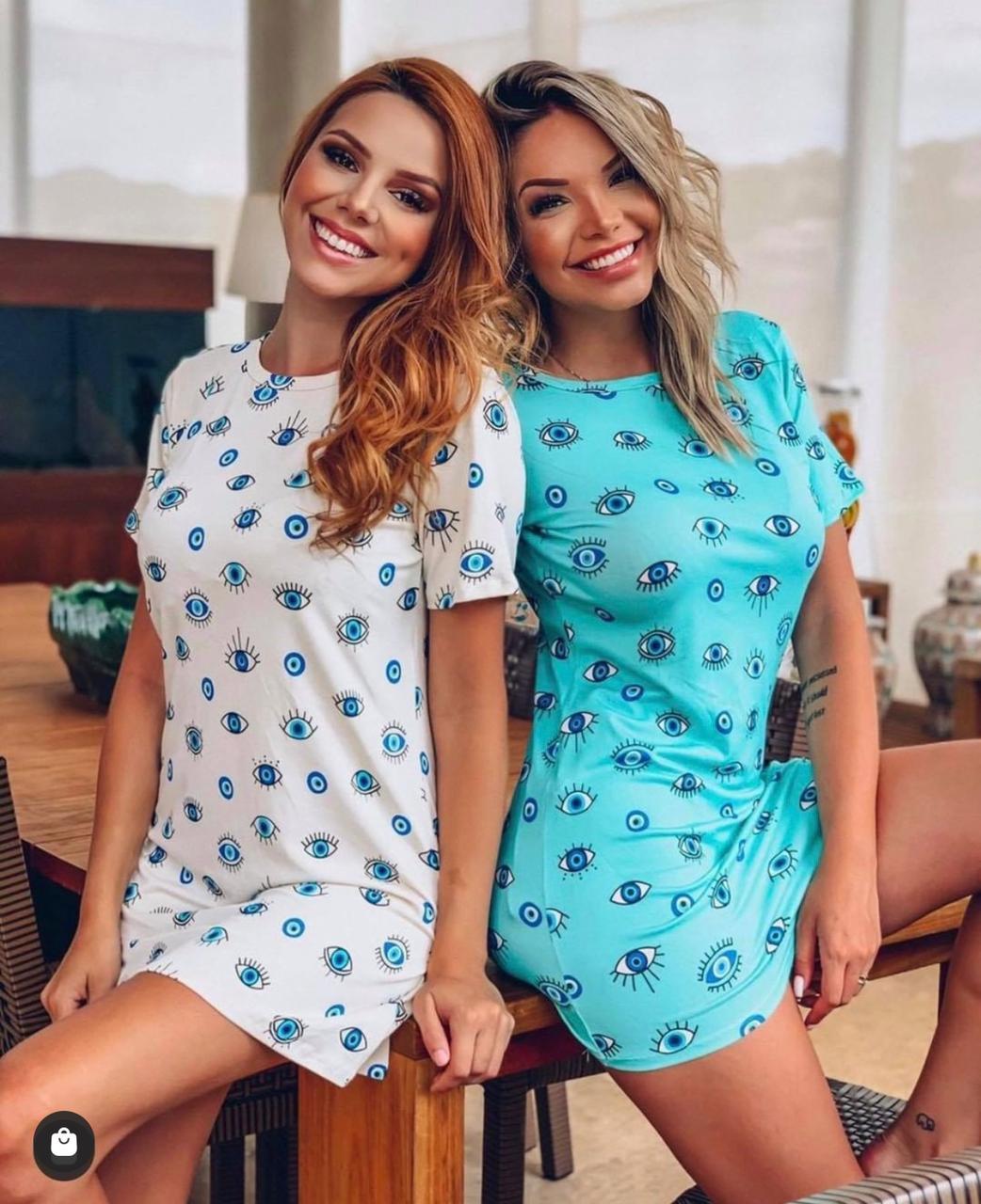 Blusão Vestido Olho Grego Camisão Feminino Estampado