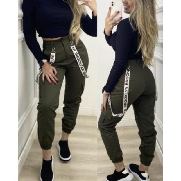 Calça Feminina Sarja Verde Militar
