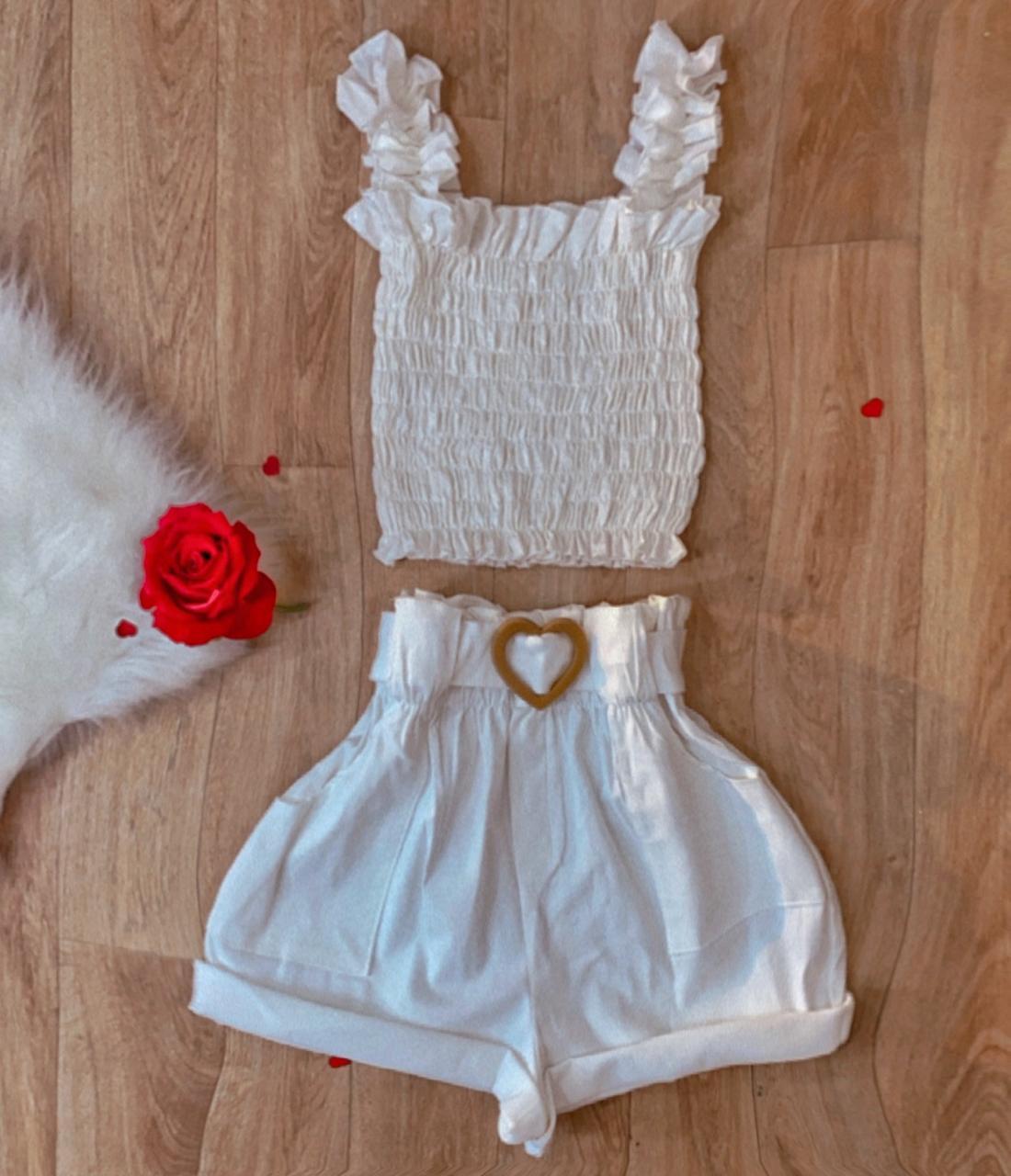 Blusa Cropped Feminino Ciganinha Lastex Manga Curta Branca