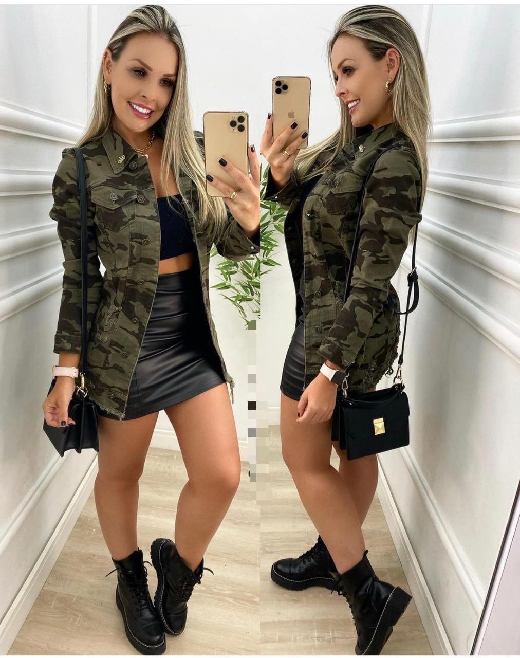 Max Jaqueta Jeans Feminina Militar