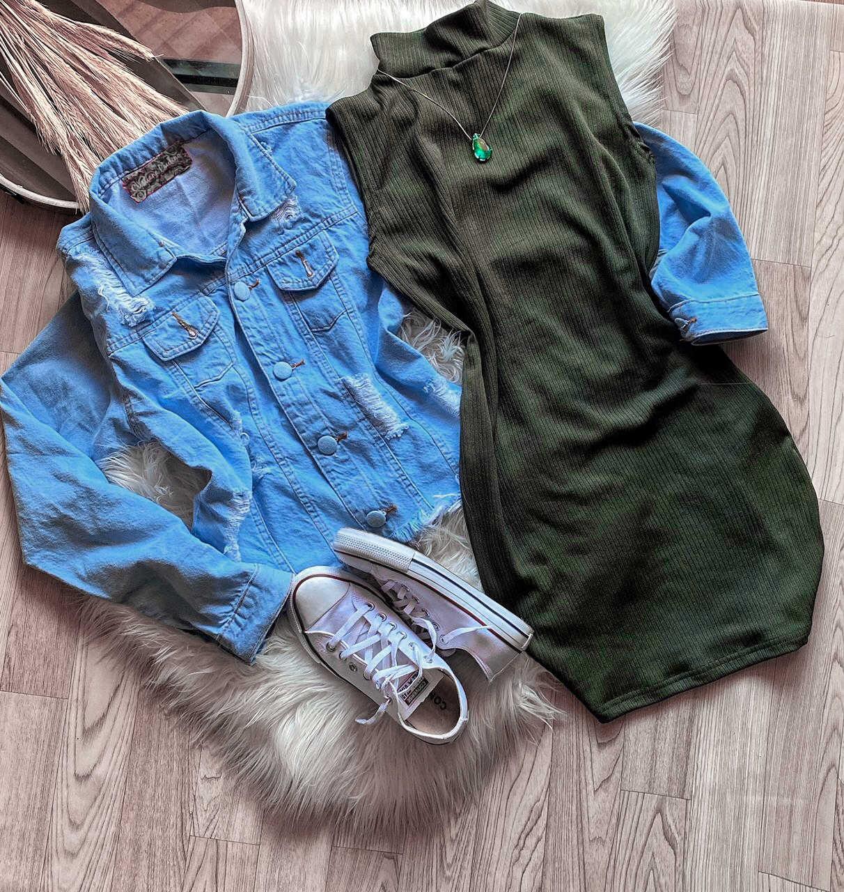 Vestido Feminino Canelado Gola Alta Manga Curta Verde Militar