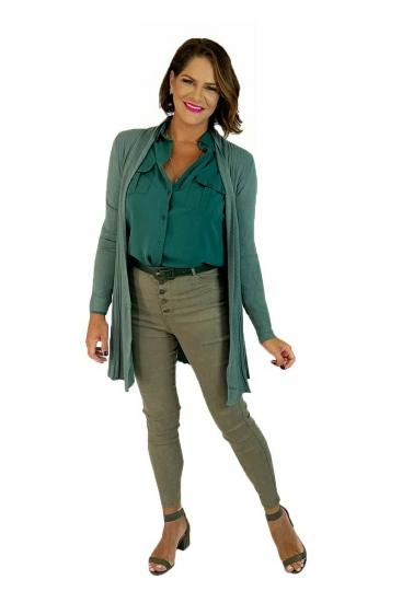 Blusa De Frio Cardigan Feminino De Lã Verde