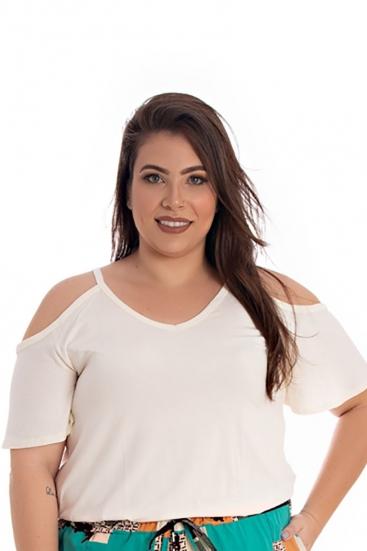 Blusa T-Shirt Plus Size Básica Branca Navajo