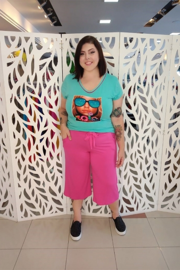 Blusa T-Shirt Plus Size Com Estampa