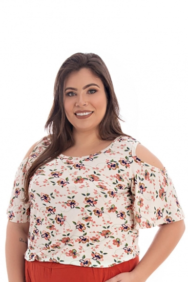 Blusa T-Shirt Plus Size Estampada Floral