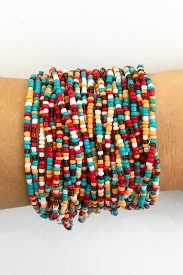Bracelete De Miçangas Coloridas Com Fecho Em Madeira