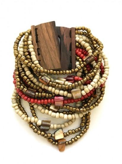 Bracelete De Miçangas E Madrepérola Marfim Dourada E Vermelho Com Fecho Em Madeira