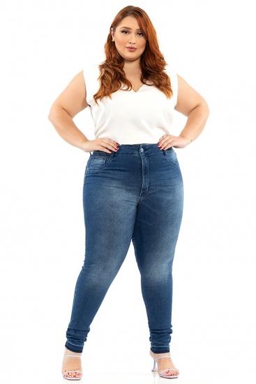 Calça Jeans Escura Plus Size Básica Cintura Média Skinny Biotipo
