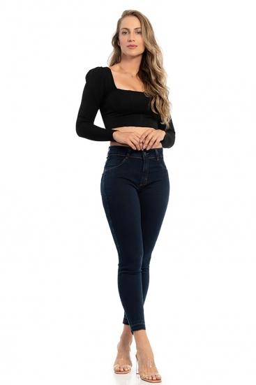 Calça Jeans Escura Básica Cintura Média Skinny Biotipo