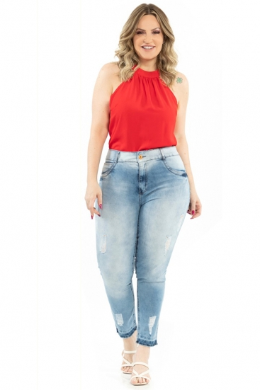 Calça Jeans Midi Plus Size Biotipo