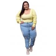 Calça Jogger Jeans Clara Rasgada Plus Size
