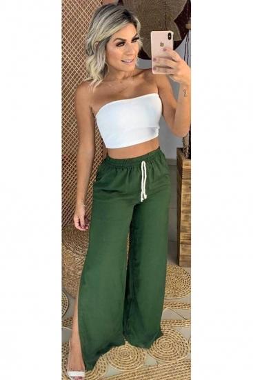 Calça Pantalona Verde Militar De Cordão