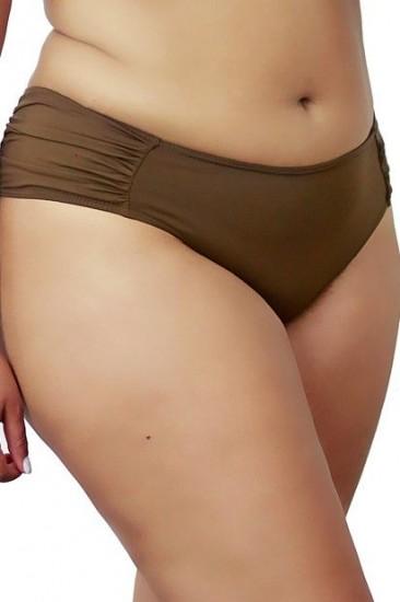 Calcinha Bombom Drapeada Plus Size Marrom Com Lateral Larga