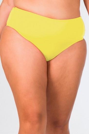 Calcinha Cintura Alta Plus Size Lisa Amarela