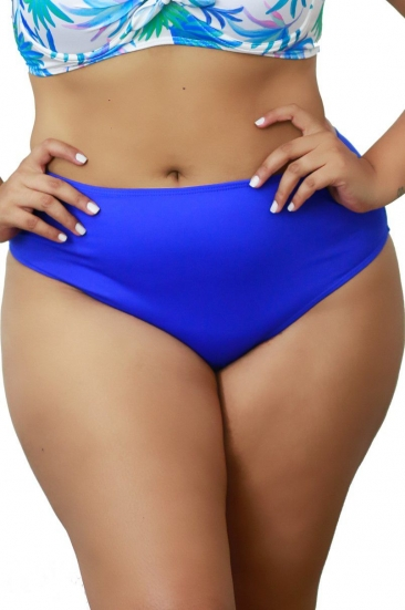 Calcinha Cintura Alta Plus Size Lisa Azul