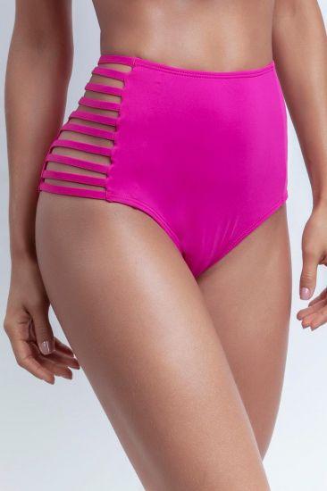 Calcinha De Biquíni Rosa Cintura Alta Hot Pants De Tiras Laterais