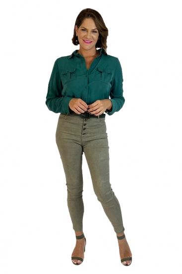 Camisa Social Manga Longa Feminina Verde Escuro