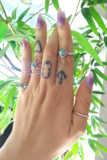 Conjunto De Anéis Prata Com Pedra Turquesa