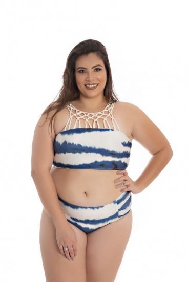 Conjunto De Biquíni Plus Size Estampado Tie Dye Marfim E Azul Escuro Com Bojo Predilect's Plus Beach