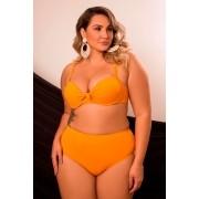 Conjunto De Biquíni Plus Size Sustentação Com Calcinha Cintura Alta Amarelo Mostarda